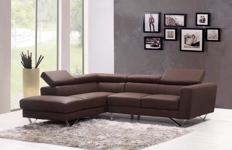 hnědá kožená sedačka do tvaru L luxusnější