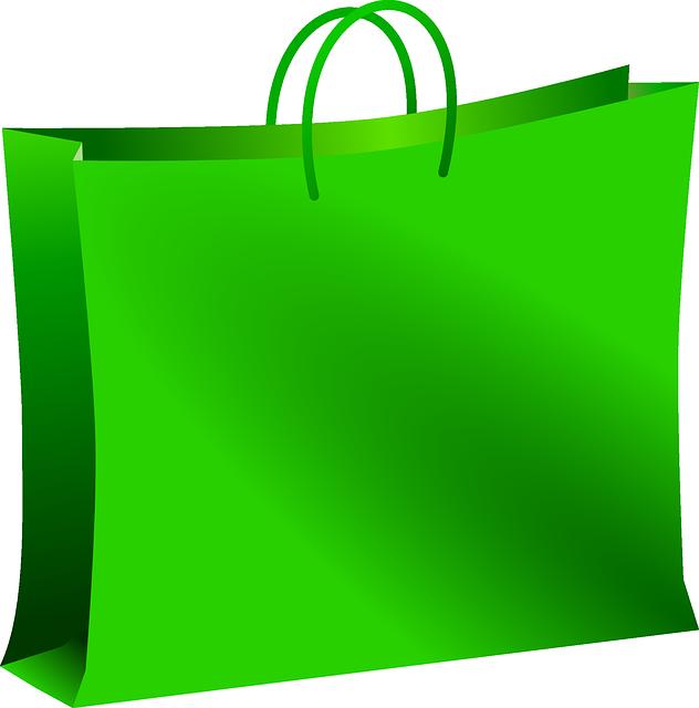 zelená nákupní taška